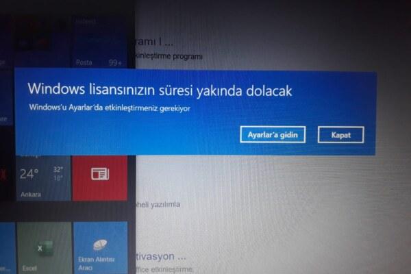 Windows lisansınızın süresi yakında dolacak hatası alıyorum