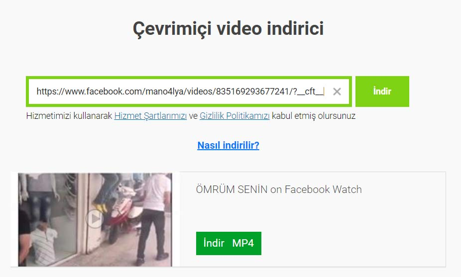 online facebook video indirme