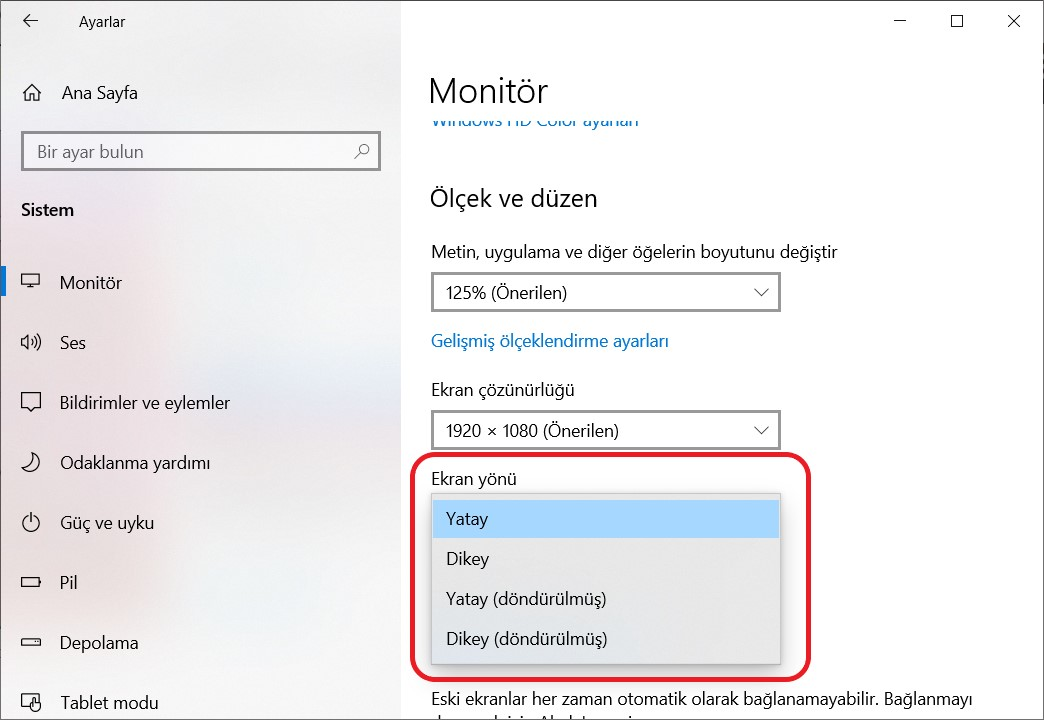 ekran döndürme windows 10