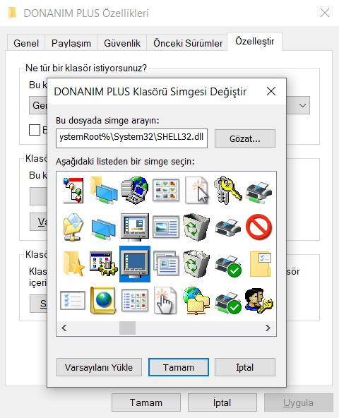 windows 10 kısayol simgesi değiştirme