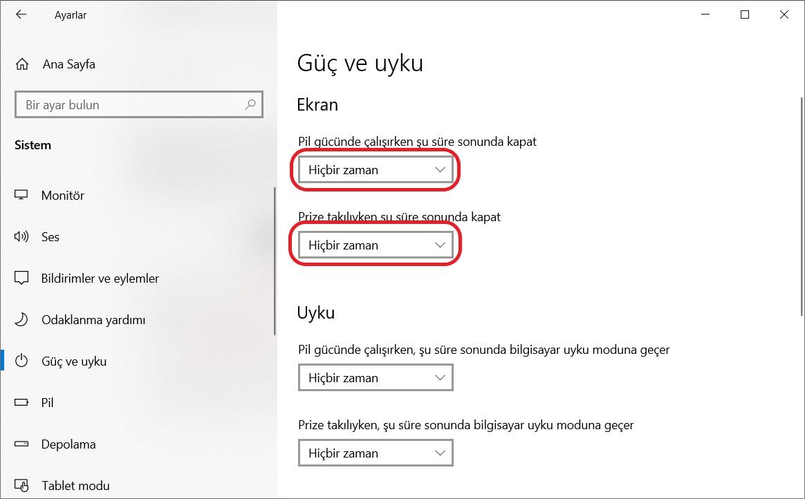 Windows 10'da Ekranın Kapanmasını Engelleme