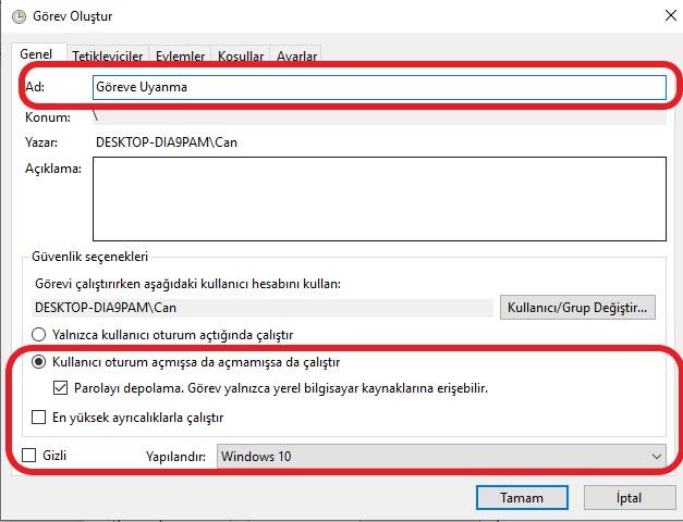 windows-10-otomatik-acılma-gorev-olustur
