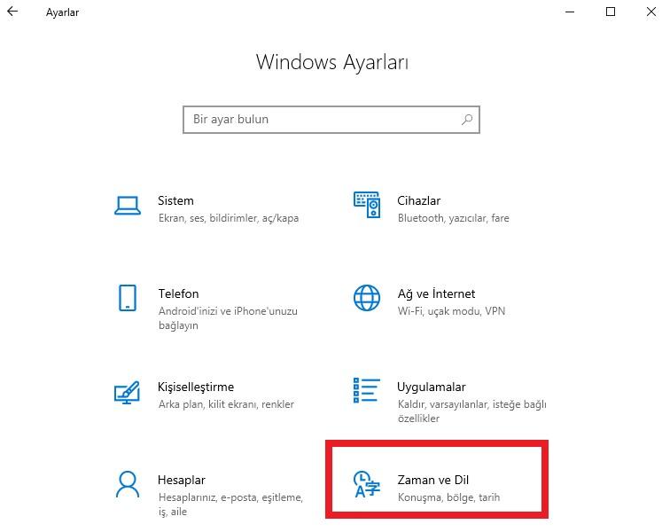 windows-10-otomatik-saat-ayarlama