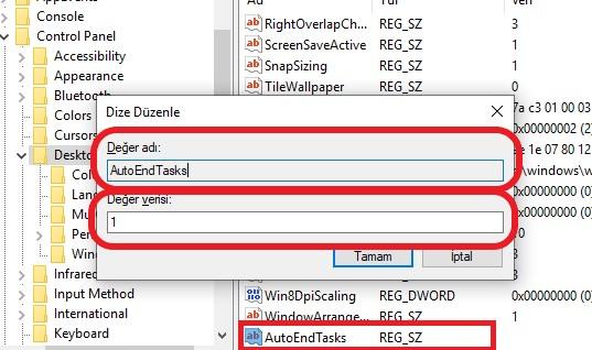 windows-10-otomatik-uygulama-kapatma-yeni-kayit
