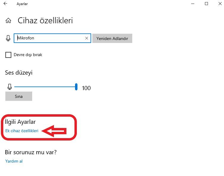 windows-10-mikrafon-sesi-ayarlama-cihaz-ozellikleri