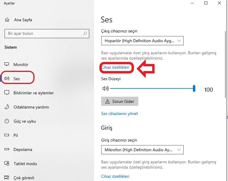 windows-10-mikrafon-sesi-ayarlama-ses-ayarları-