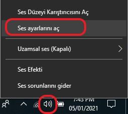 windows-10-mikrafon-sesi-ayarlama-ses-ayarları-ac